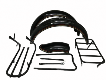 NORTON 16H BLACK PAINTED FENDER SET & STAYS WITH DUAL OUTLINE |Fit For