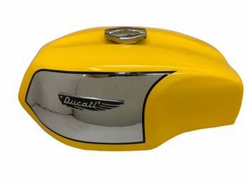 Ducati 750 Gt 1972 Yellow Steel Chrome Petrol Tank With Cap And Badge|Fit For