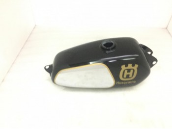 HUSQVARNA 1974 CR 250 WR 250 MAG REPRO BLACK PAINTED CHROME STEEL TANK Fit For