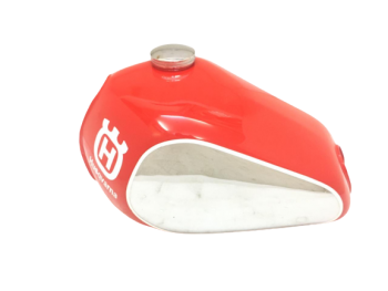 Husqvarna Fuel Petrol Chrome & Red Painted Steel Tank & Cap 1982 -1983 |Fit For