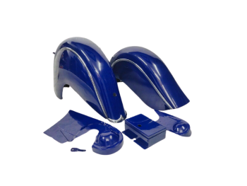 INDIAN CHIEF FRONT & REAR BLUE FENDER MUDGUARDS + CHAIN GUARD POST WAR |Fit For