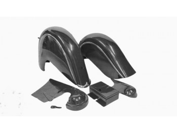 INDIAN CHIEF FRONT & REAR BLACK FENDER MUDGUARDS + CHAIN GUARD POST WAR|Fit For