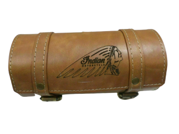 Indian Chief Motorcycle Tan Color Pure Leather Engraved Tool Bag |Fit For