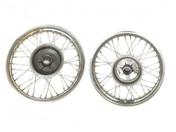 Pair Chrome Plate Front Rear 16 Wm2 Jawa 250 350 Cw 36 Holes Rims + Spokes