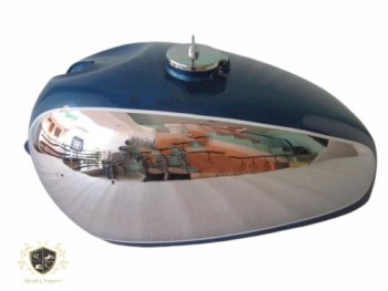 PANTHER M100 M120 CHROME AND BLUE PAINTED GAS FUEL TANK WITH FUEL CAP -BRAND NEW
