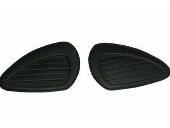 Black Rubber Knee Pad Set Fits Royal Enfield BSA Triumph Norton Universal