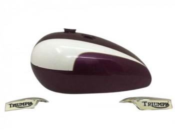 Triumph T140 Aubergine & White petrol Tank + Badges |Fit For