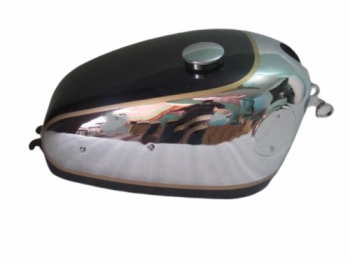 VELOCETTE VENOM CHROME & BLACK PAINTED FUEL TANK WITH BADGE MOUNT +FREE CAP+TAP|Fit For