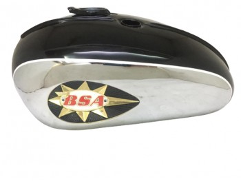 BSA A65 2 GALLON BLACK & CHROME PETROL TANK WITH BADGES 1968-1969 |Fit For