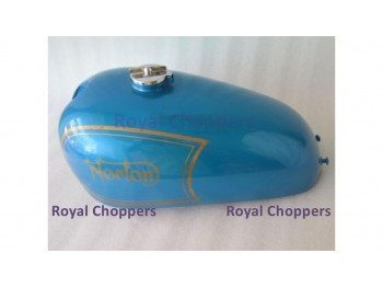 NORTON AJS MATCHLESS G12 CSR COMPETITION BLUE PAINTED GAS FUEL TANK + FREE CAP