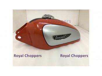 Ducati 350CC Scrambler Silver, Orange & Black Petrol Tank with Badge & Cap