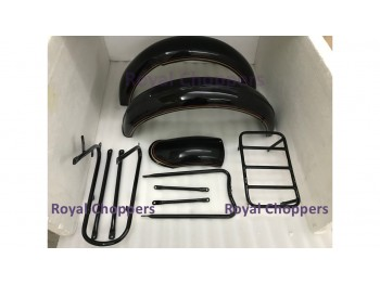 NORTON 16H BLACK PAINTED FENDER SET & STAYS WITH DUAL OUTLINE - BRAND NEW