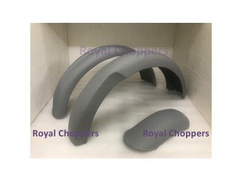 NORTON 16H FRONT AND REAR MUDGUARD / FENDER SET RAW STEEL